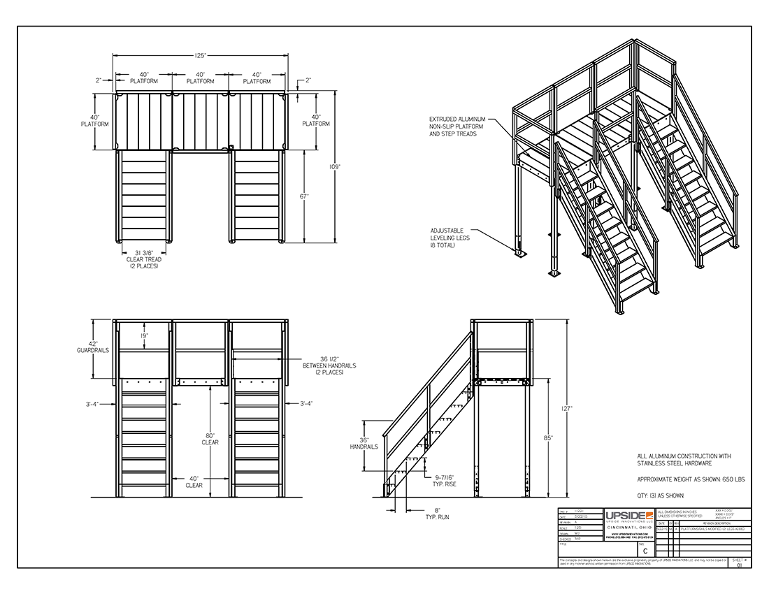 "80"" tall crossover stair layout and elevation drawing by Upside Innovations"