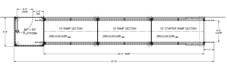 Wheelchair ramp plan drawing showing ramp sections and ramp platform