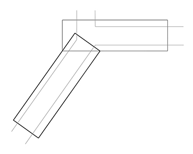 Overhead plan of two sidewalk canopies overlapping at corner