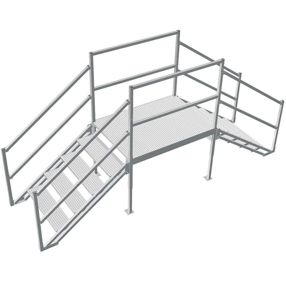 Adjustable crossover step platform with handrails