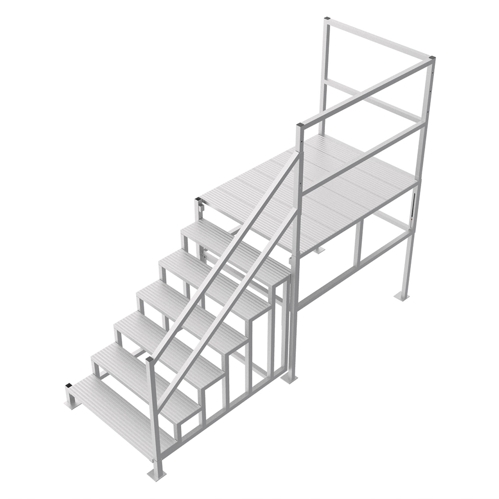 Industrial work platform with handrail