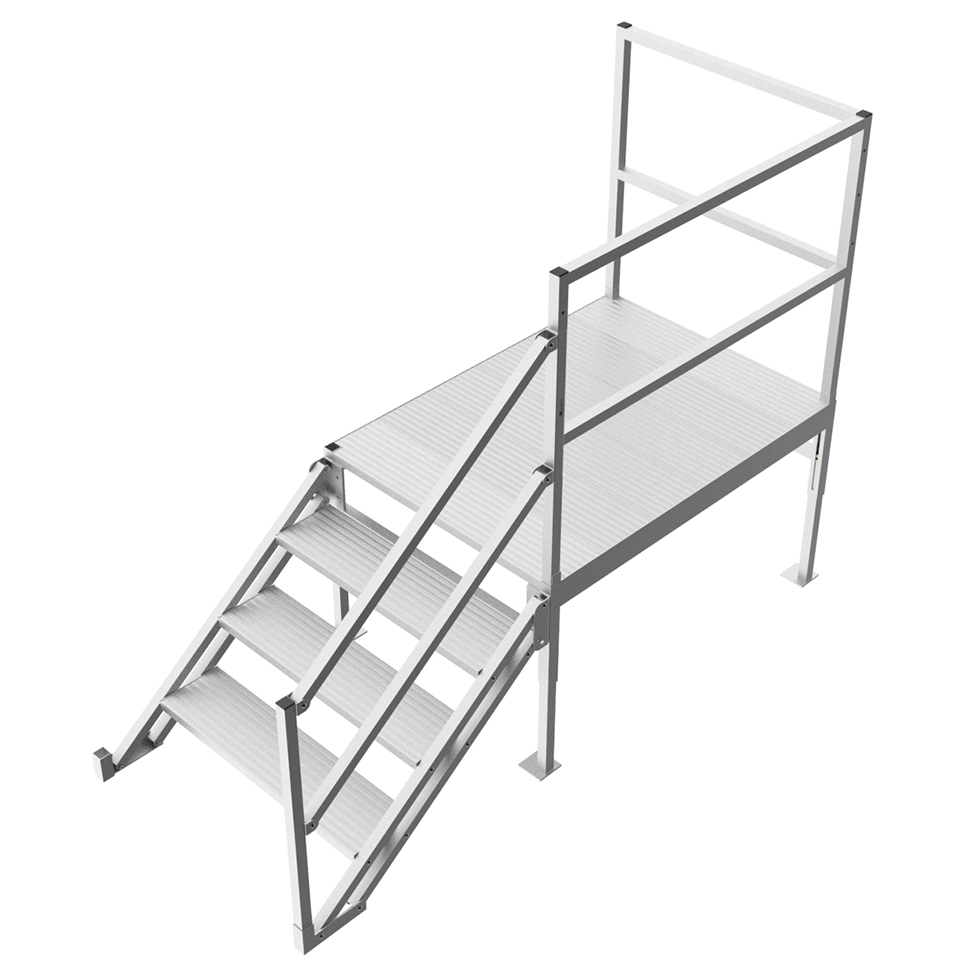 Industrial step platform with handrail