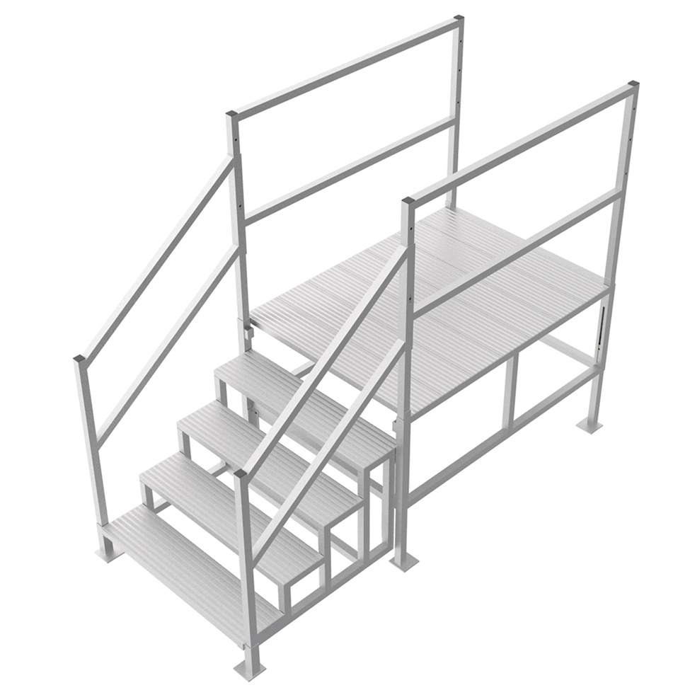 Adjustable work platform with handrails