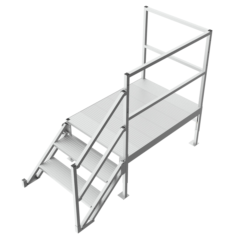 Adjustable step platform with handrail