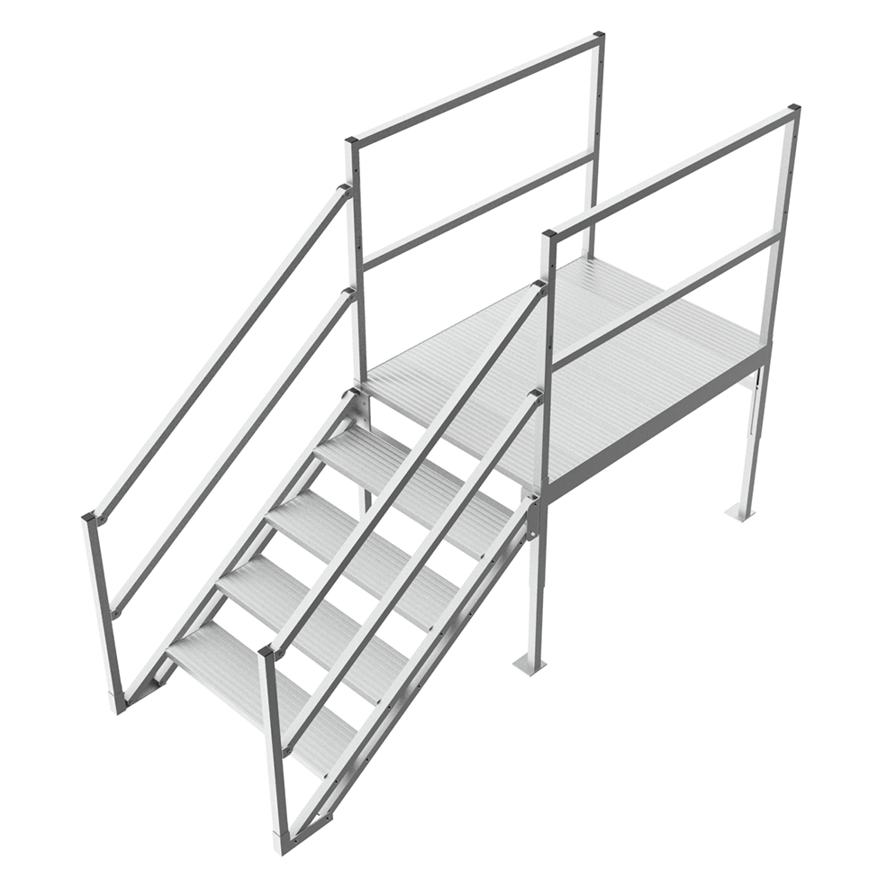 Industrial step platform with handrails