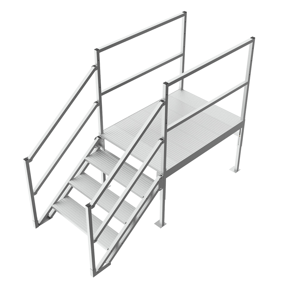 Industrial work platforms with handrails
