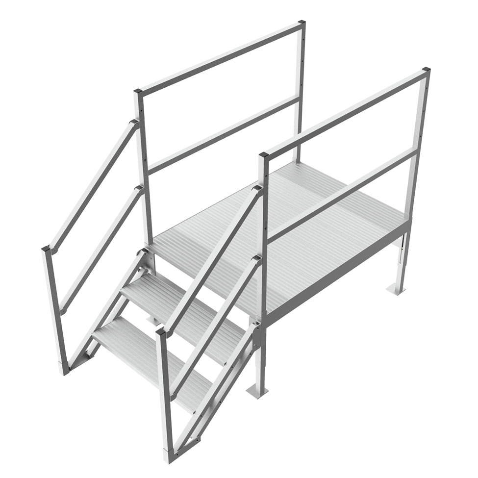 Industrial work and step platform with handrails