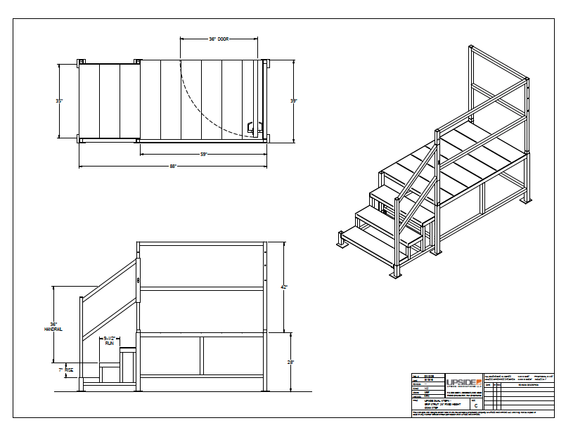 adjustable osha dual stairs layout