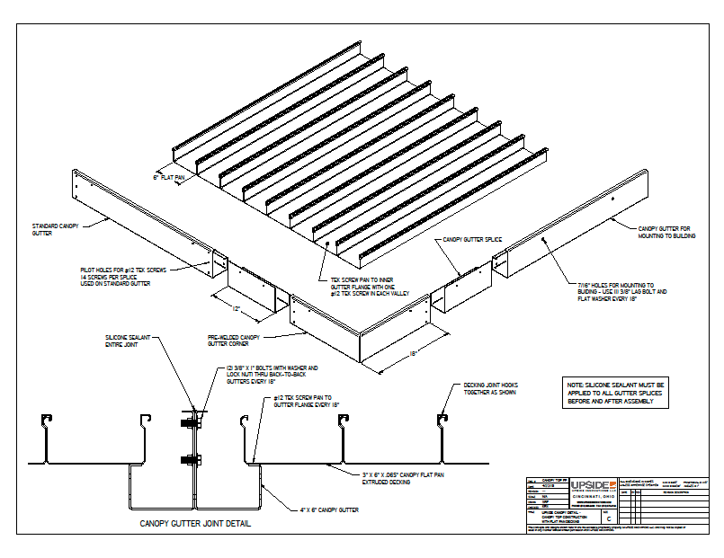 flat pan commercial awning assembly
