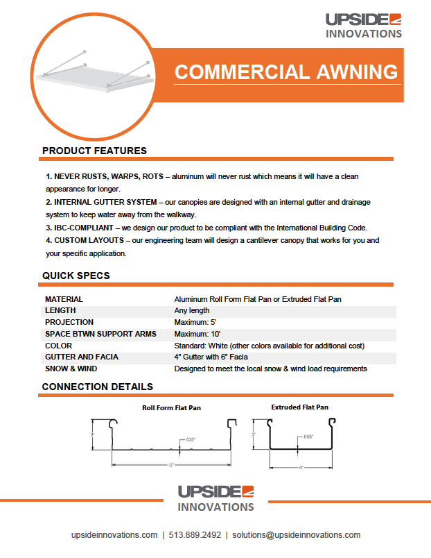 commercial metal awning details