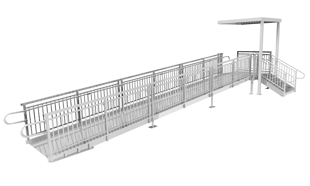 straight ramp with step and canopy