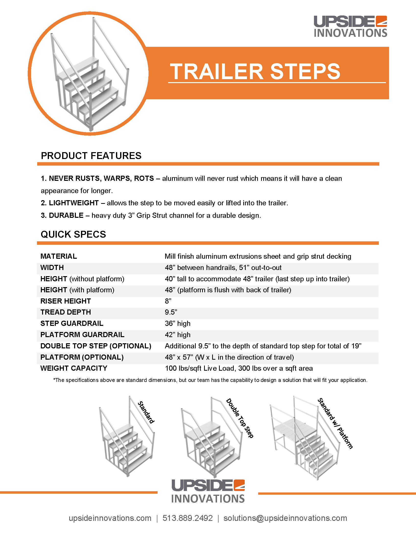 Trailer step specifications