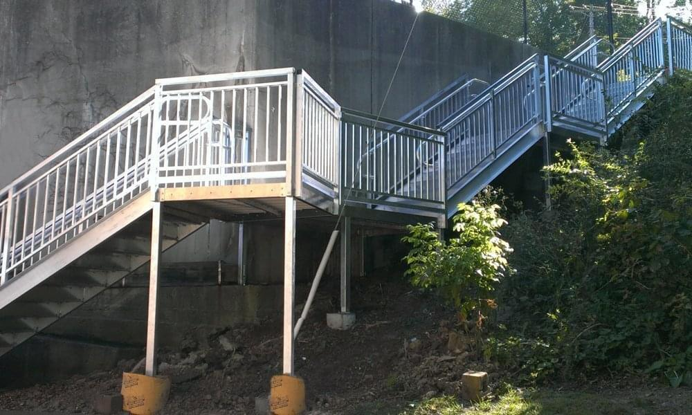 prefabricated hillside steps
