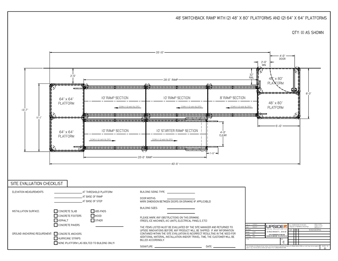 48 foot ada compliant switchback ramp layout drawing by Upside Innovations