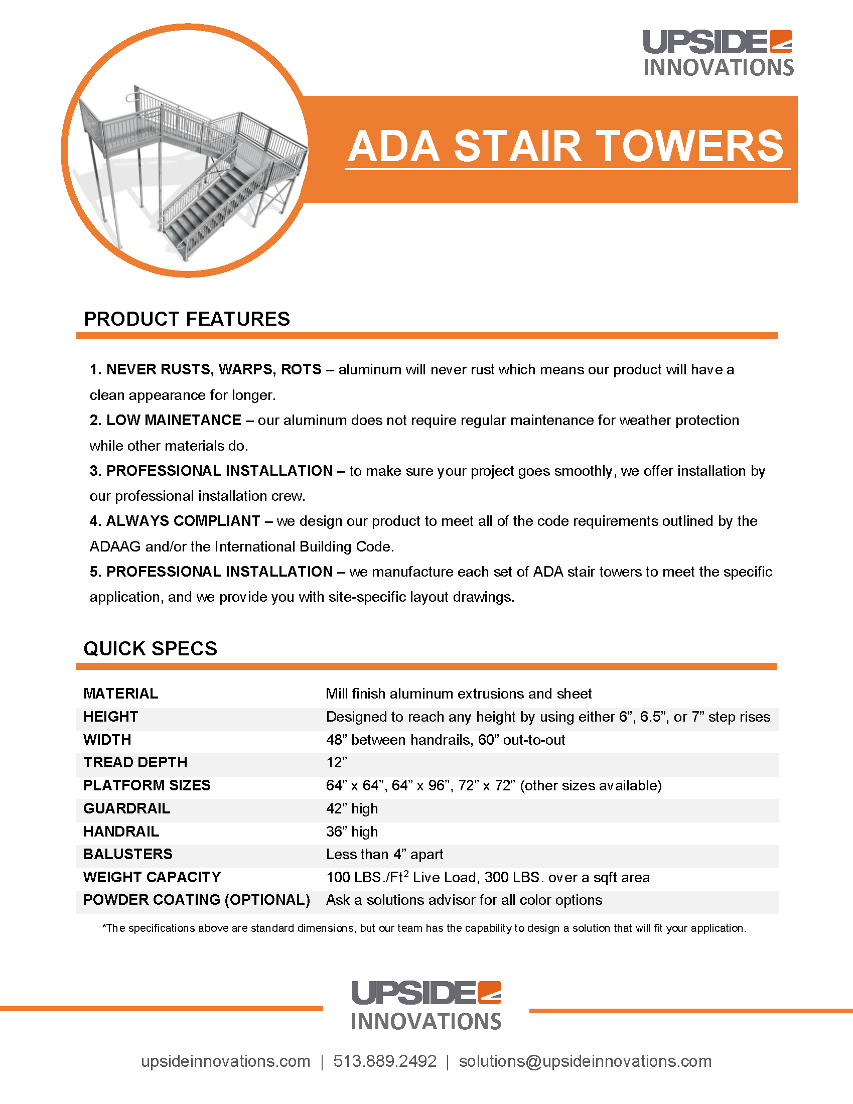 ada stair tower specifications