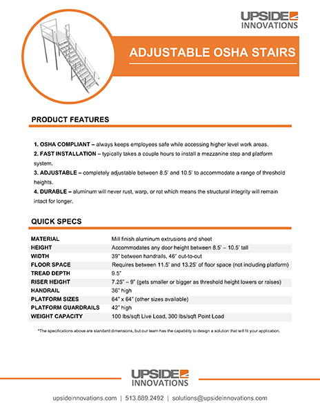 adjustable osha stair specifications