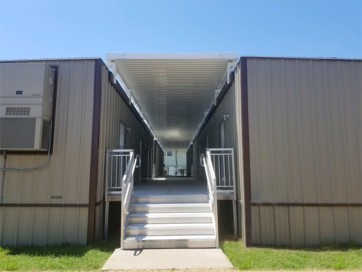 covered walkway between buildings