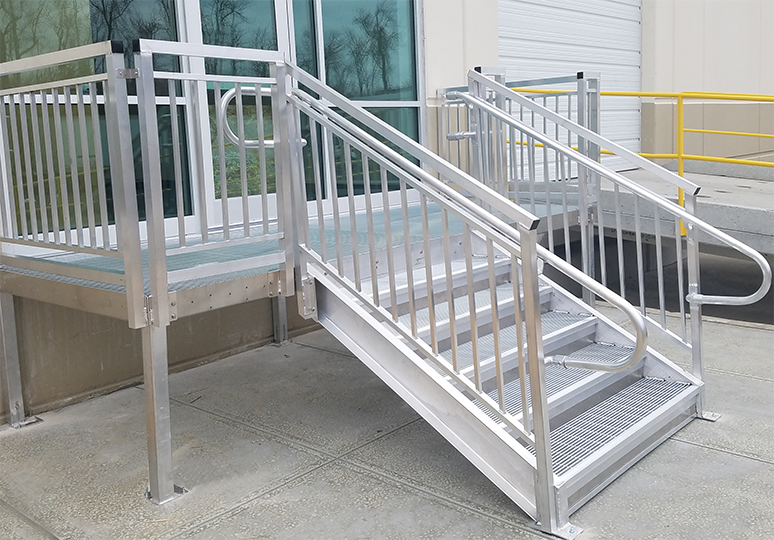 custom aluminum exterior warehouse stairs