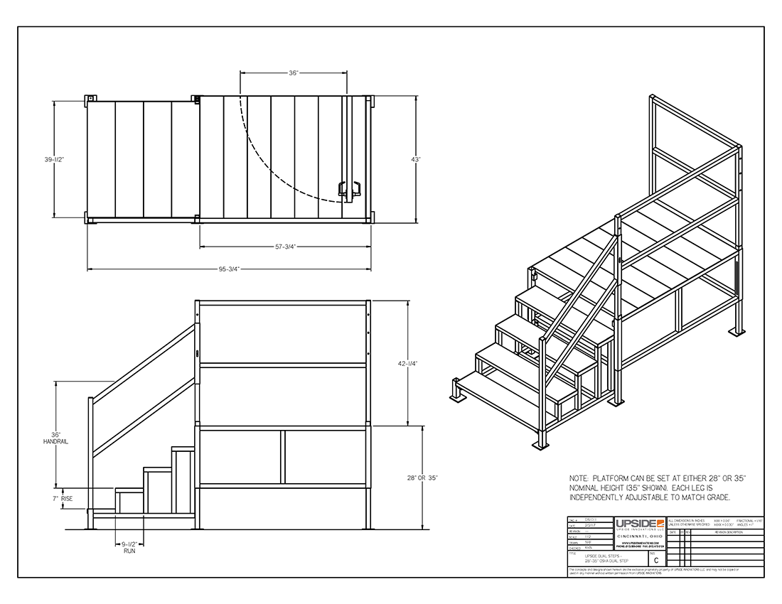 Dual height mobile office stairs layout drawing by Upside Innovations