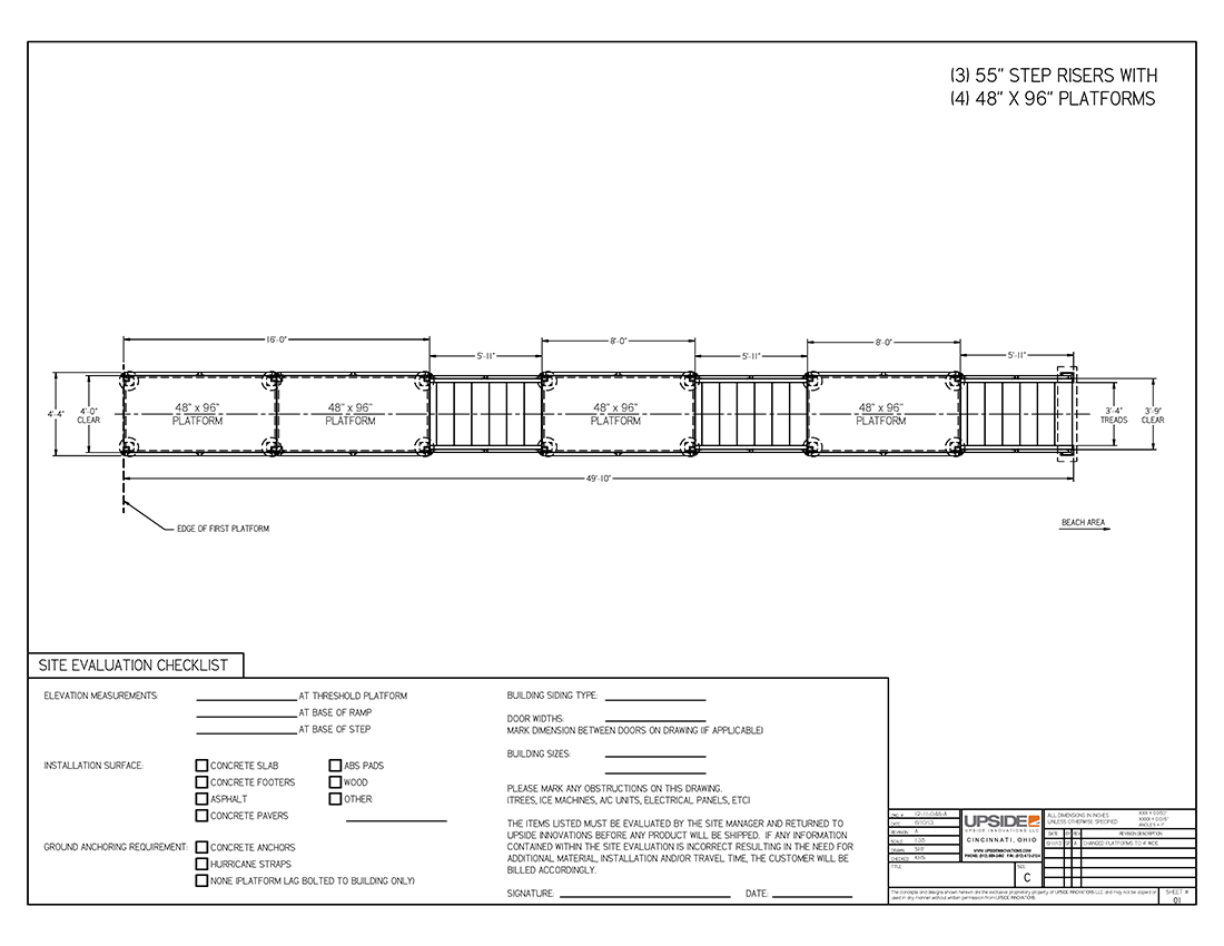 hillside stair system with intermediate landings layout drawing by upside innovations