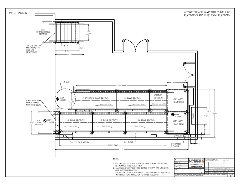 Interior ada ramp layout drawing