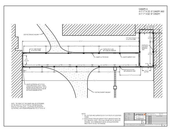 L shape walkway canopy layout drawing