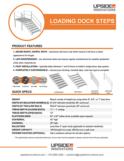 Loading dock step specifications