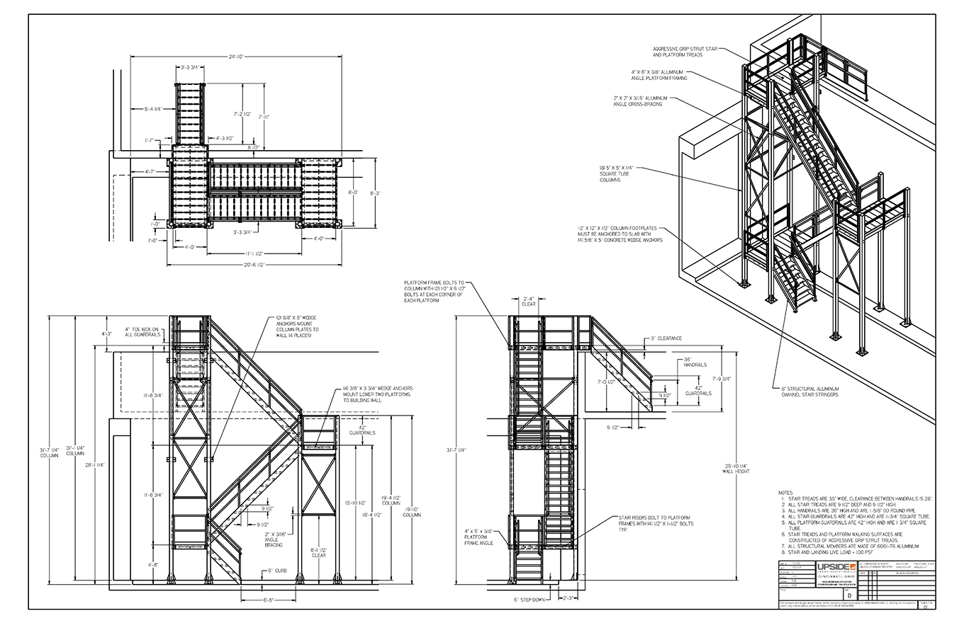 Roof access stair tower drawings