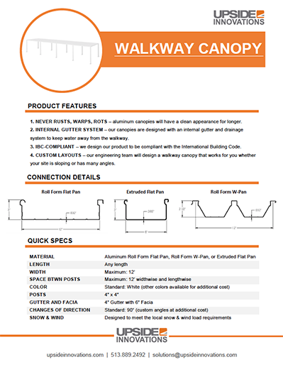 walkway canopy specifications