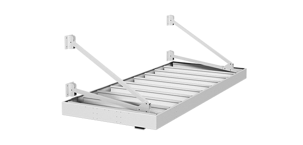 Rendering of white aluminum awning with hanger rods