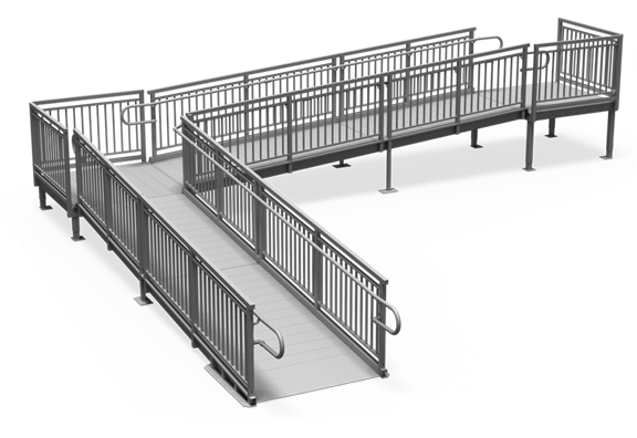Metal L-shape wheelchair ramp rendering