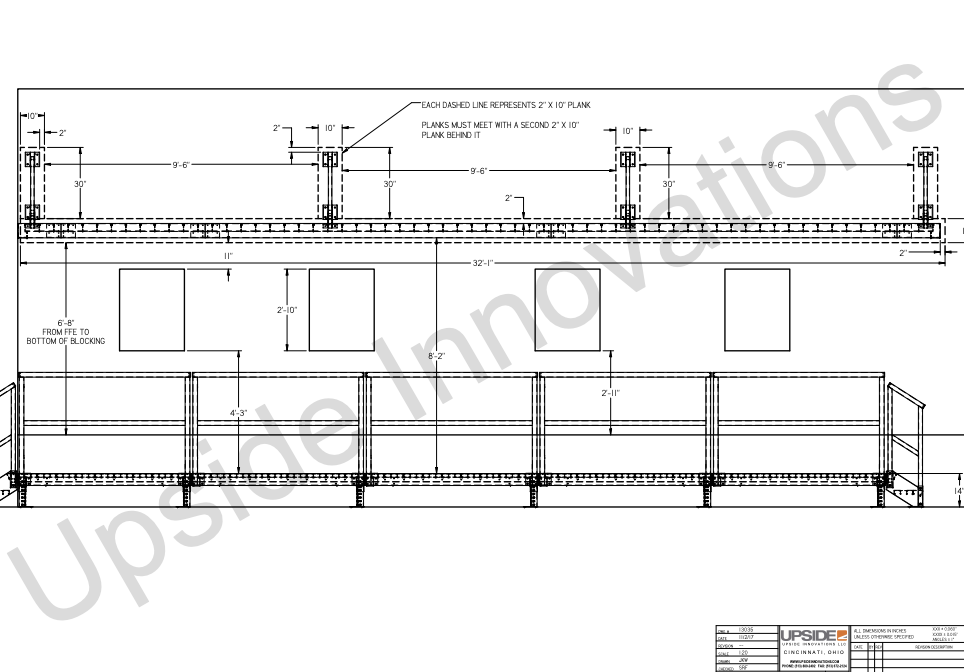 Elevation drawing for commercial metal awning on modular building
