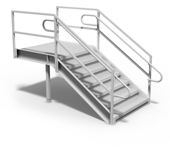Industrial loading dock stairs with continuous handrails rendering