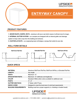 Entryway Canopy Specifications & Details