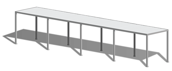 White aluminum walkway canopy rendering with shadow