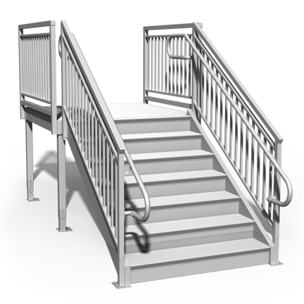 "Rendering of 49"" tall aluminum ADA step"