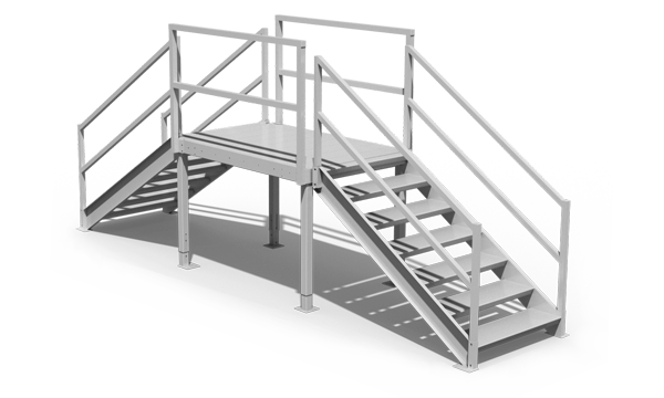 Rendering of aluminum crossover stairs for pipes