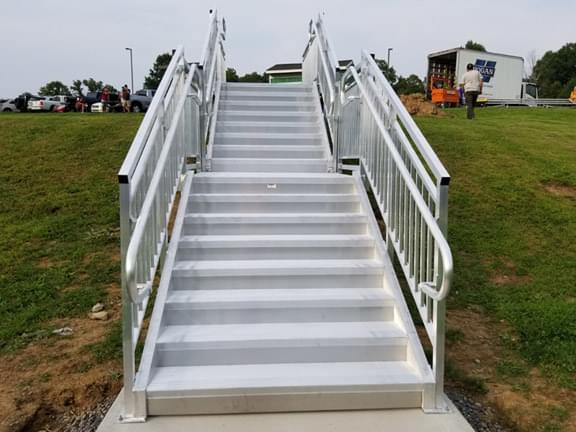 Aluminum hillside steps with platform for football field