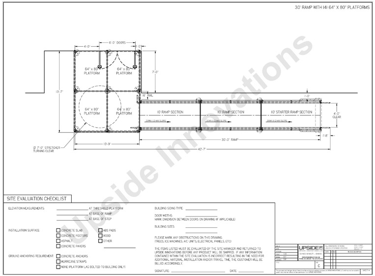 Sample layout drawing for medical stretchers