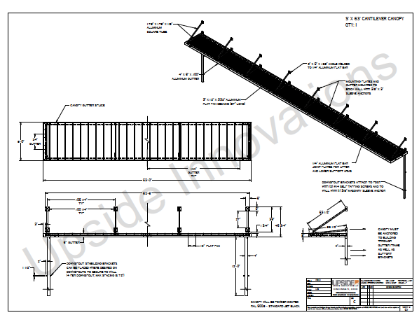 Layout drawings and details for aluminum loading dock canopy