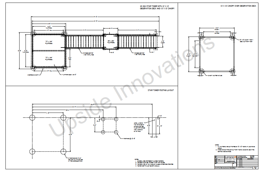 Layout drawings for aluminum observation stair tower and platform