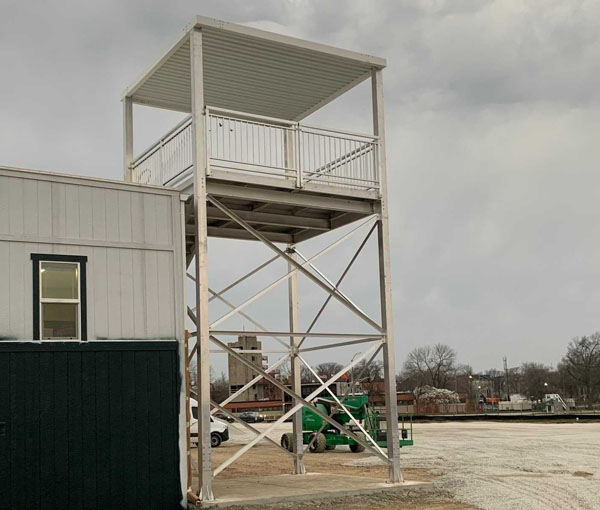 Observation stair tower with overhead canopy
