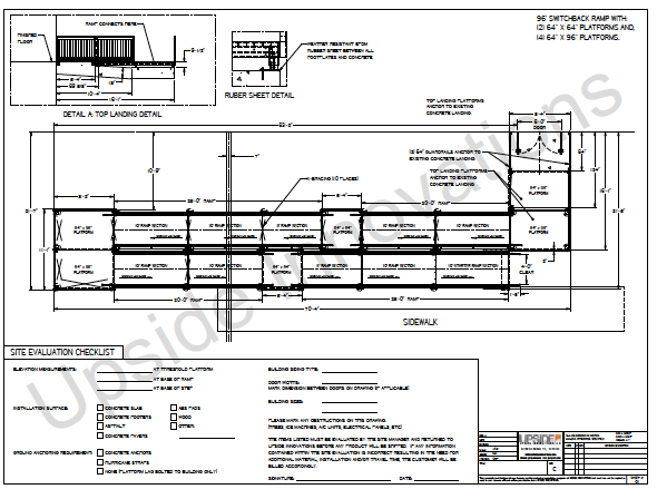 ADA wheelchair ramp layout drawing by Upside Innovations