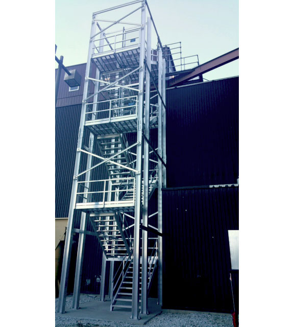 Aluminum stair tower for fire escape at industrial plant