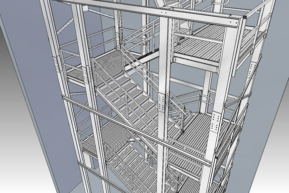 Rendering of fire exit stairs