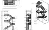 Layout of apartment fire exit stairs